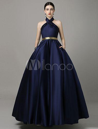 Satin Abendkleid a-line Halfter bodenlangen Marine rückenfreie Prom Kleid mit goldenen Schärpe