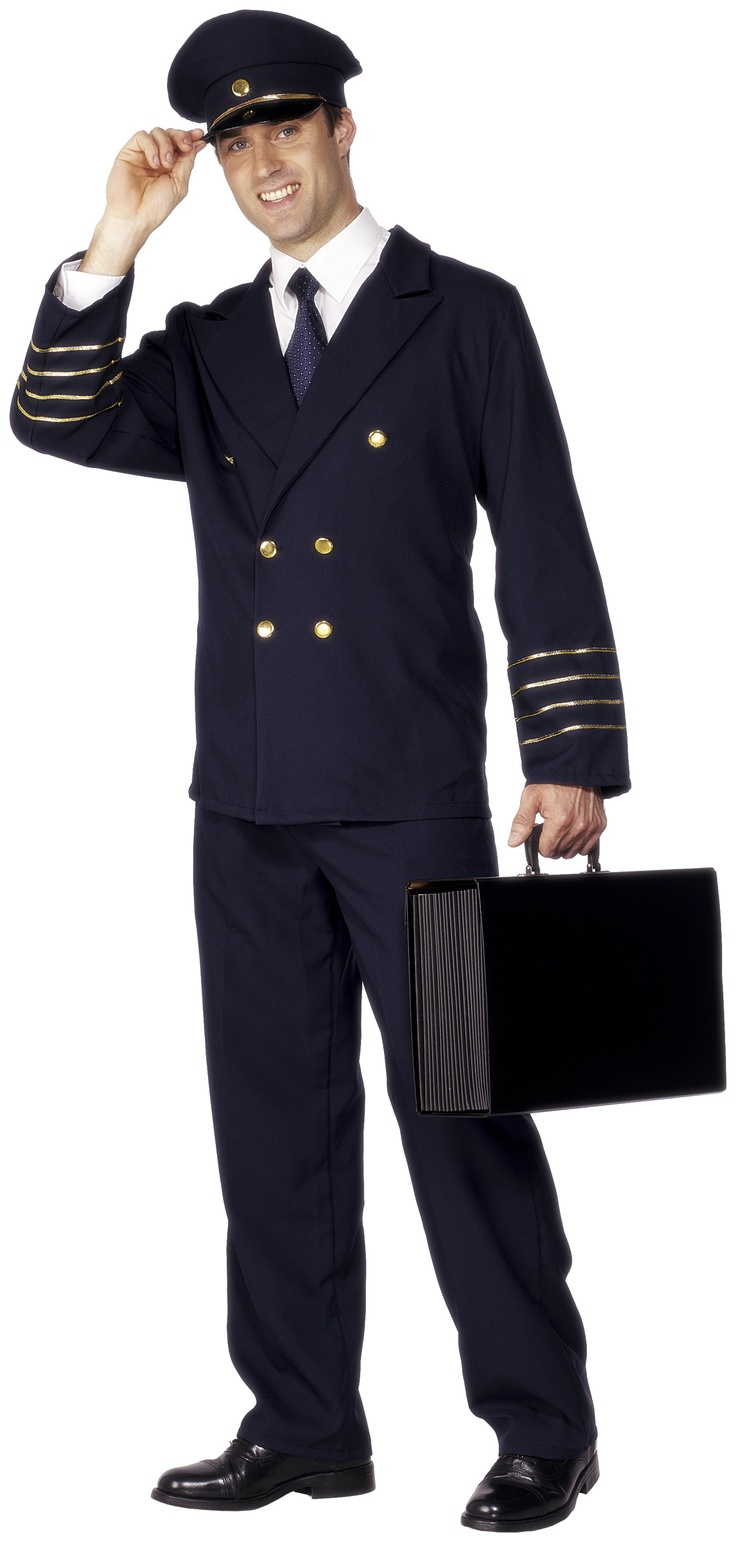 Navy Pilot Fancy Dress Costume - Great fun, Navy Pilot Costume. Includes Jacket, Trouser and Hat, comes in Navy Blue. Ladies love a pilot in uniform!