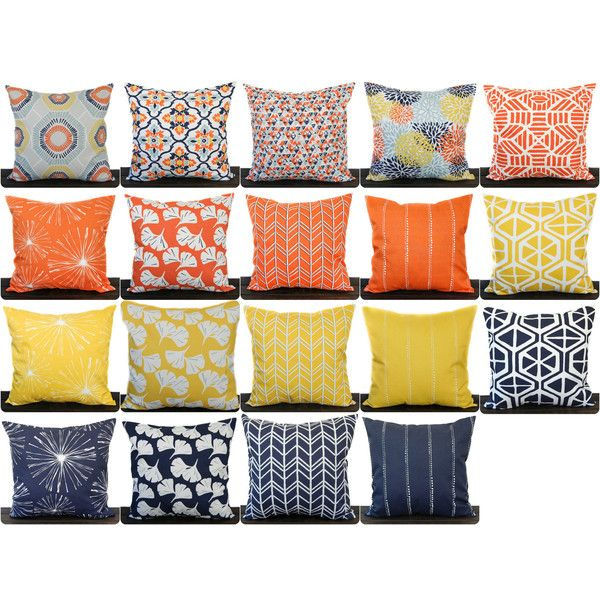 Pillow Throw Pillow Pillow Cover Cushion Decorative Pillow Orange... ($14) ❤ liked on Polyvore featuring home, home decor, throw pillows, decorative pillows, grey, home & living, home décor, orange accent pillows, navy accent pillows and orange throw pillows