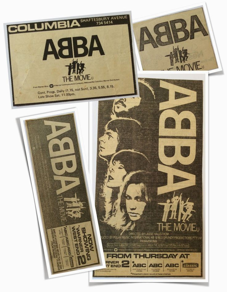 "The image below shows a few of the original UK Cinema listings for ""Abba The Movie""... #Abba #Agnetha #Frida http://abbafansblog.blogspot.co.uk/2015/02/abba-movie-cinema-listings.html"