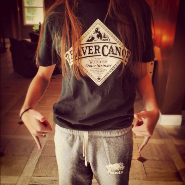 "Fan Favourite: ""Classic Beaver Canoe tee & Roots sweats""this is what I would wear to camping trips. your gonna get dirty!"