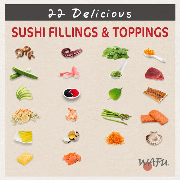 22 Delicious Sushi Fillings & Toppings: In this infographic, discover new fillings & toppings for your home-made sushi rolls, and get inspired!