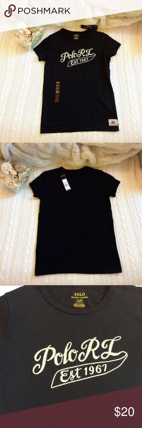 "Polo Ralph Lauren Black Tee, S/P Polo Ralph Lauren woman black Tee T-shirt with embroidery ""Polo RL Est 1967"" in white, New with tag  Item description: Size - SP Petite Small Color - Black Sleeves - short sleeve Material - 100% Cotton  Measurement (approximate Laying flat): Length - 24 inches Shoulder to shoulder - 13.5 inches Underarm to underarm - 16 inches  Care instruction: Machine wash cold Polo by Ralph Lauren Tops Tees - Short Sleeve"