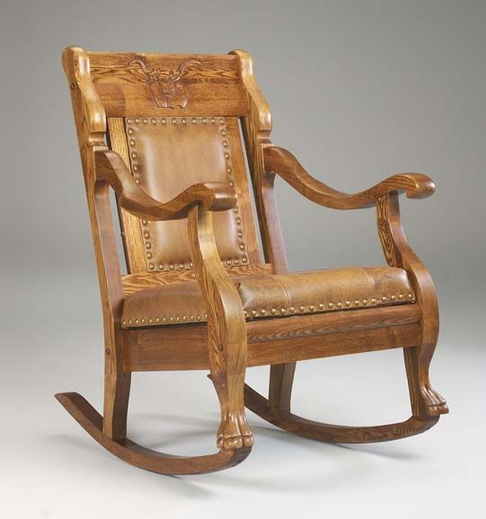Western Leather Rocking Chair