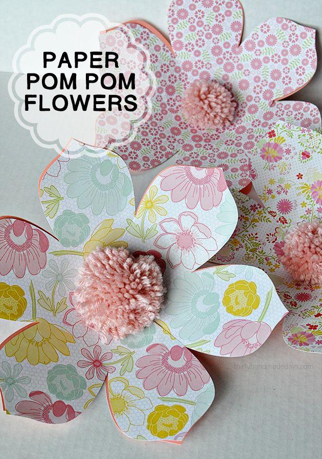 Cute DIY Pom Pom Paper Flowers