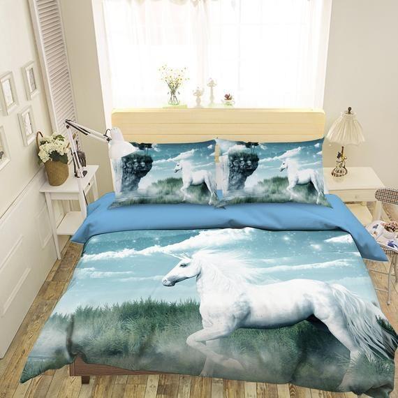 3d Unicorn D122 Duvet Cover Bedding Set Quilt Cover Quilt Duvet Cover Pillowcases Bedding Queen King Full Double 3 Pcs In 2021 Bedding Set Bed Bedding Sets