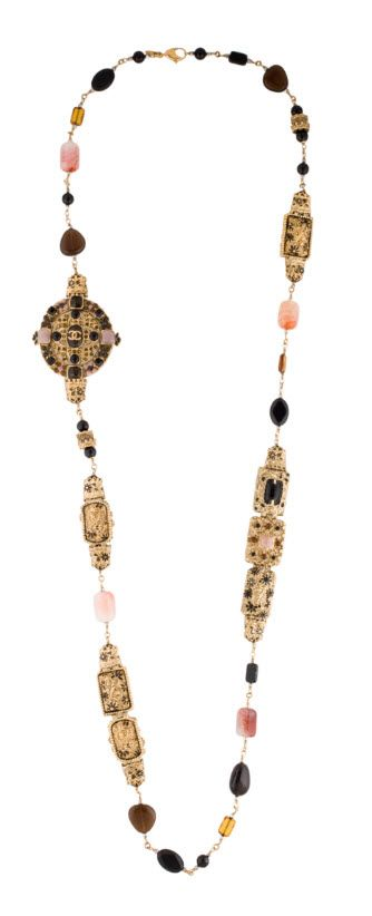 CHANEL ORNATE AGATE AND BEAD NECKLACE ~ shop  http://rstyle.me/n/bqcqjdrm5w .  From the Fall 2011 Collection. Gold-tone Chanel necklace with pink and white agate stations throughout, black resin cabochons, brooch ornament with pin closure and interlocking CC logo and lobster clasp closure.