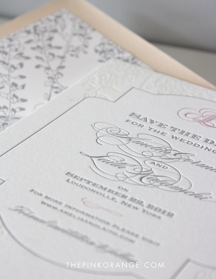 One of our favorite layered save the dates. Pink, gray and organic vines.  www.thepinkorange.com