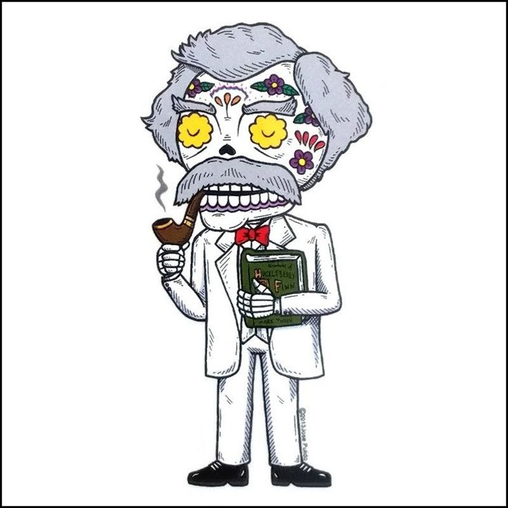 Misc - Mark Twain Day of the Dead Sticker