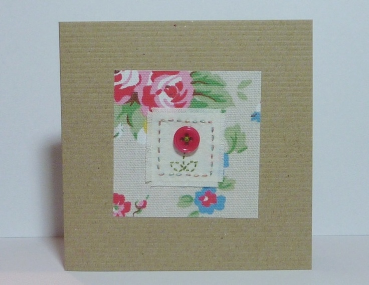 Hand stitched Vintage Button card
