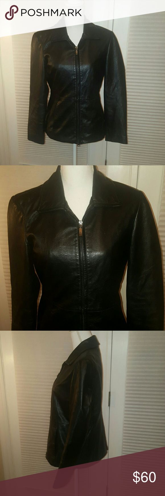 Guess black genuine leather jacket size medium Amazing GUESS genuine black leather zip up jacket. Beautiful soft leather, no signs of wear at all. Size medium. Guess Jackets & Coats