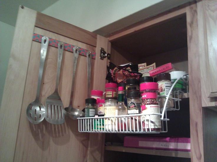 Small Kitchen Space Saver! Hang Utensils On Cabinet Door