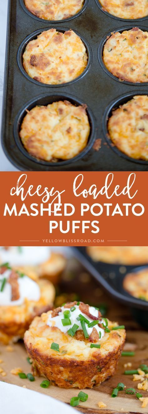 Loaded Mashed Potato Puffs filled with bacon, cheese and chives. #potatoes #sides #starters