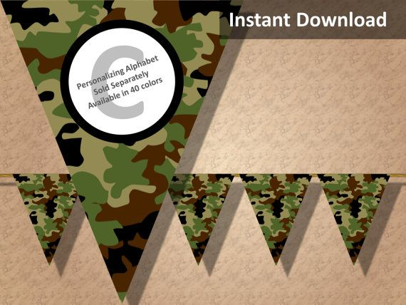 Earthtones camo party banner! Perfect for a hunting, military, camping or lazer tag party! Find more printable camouflage party decorations at CameoPartyDesigns.etsy.com #camoparty #camouflageparty #partydecorations