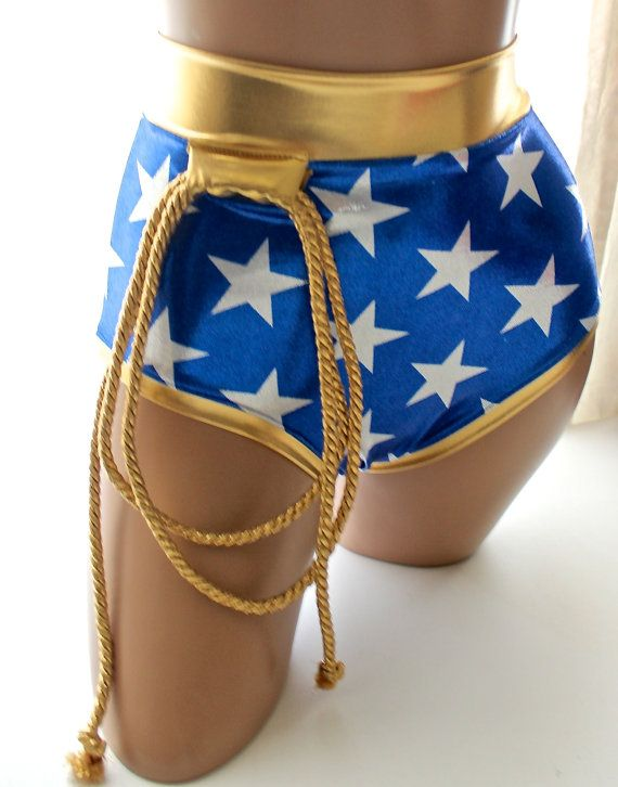 Sugarpuss Wonder Woman Pin-Up Style Briefs with Gold Lasso and Scrunch in the Back This listing is for the BOTTOMS ONLY for this Wonder Woman costume. They are made of 4-way stretch metallic lycra. There is a lining in the front panel, which means it could actually be worn as a swimsuit!   **Halloween Orders: Any customizations regarding Size or additions will take 7-10 business days. **   **ITEMS TAKE 3-5 BUSINESS DAYS BEFORE SHIPPING, RUSH ORDERS WILL BE CHARGED EXTRA**  Custom Orders: (…
