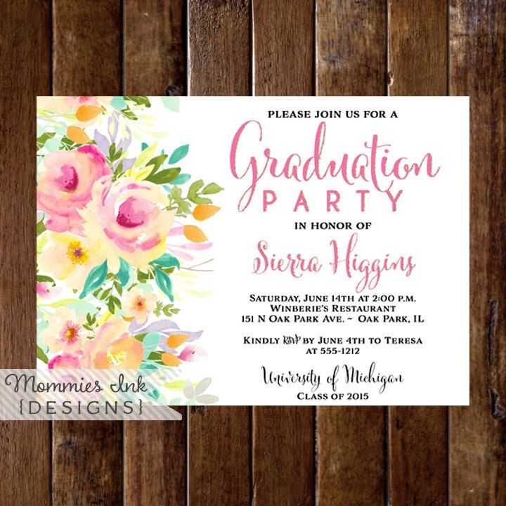 sample open house graduation party invitations%0A Floral Graduation Party Invitation  Watercolor Floral Invitation  Pink and  Peach Floral Invite  Class of Open House Invitation