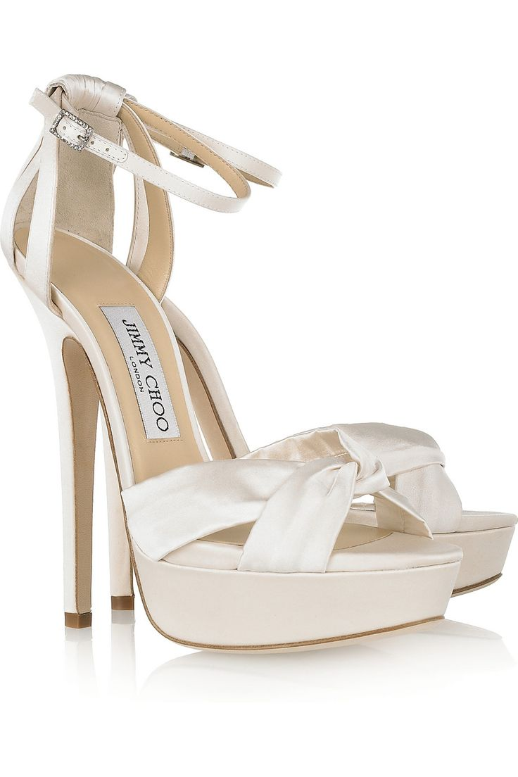 Jimmy Choo's perfect bridal sandals...yours for just $300 | Fairy satin platform sandals by Jimmy Choo | TheOutnet