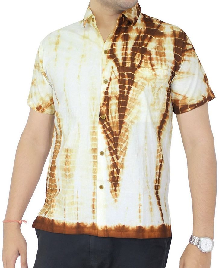 La Leela Hawaiian Shirt For Men Short Sleeve Front-Pocket Cotton Tie Dye Mustard * Tried it! Love it! Click the image. : Gift for Guys
