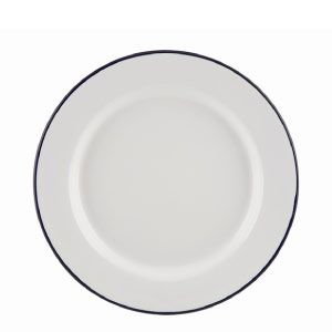 Enamel Wide Rim Plate White / Blue Rim 26cm. Sturdy enamel tableware range, for all occasions. Vitreous double coated enamel. Free delivery available.