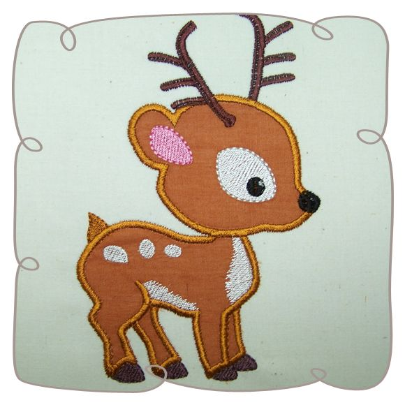 Applique Deer Critter Machine Embroidery Design
