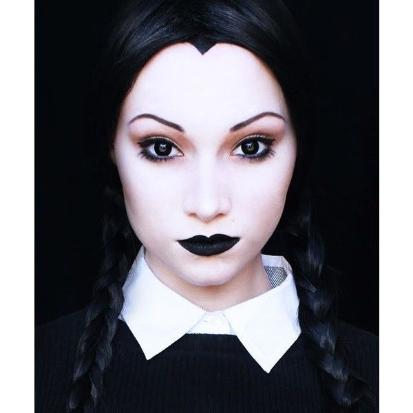 The Video Wednesday Addams Halloween Makeup Tutorial ❤ liked on Polyvore featuring beauty products and makeup