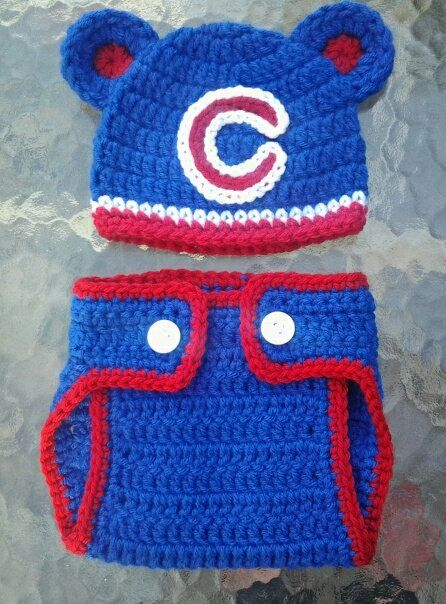 Crocheted CHICAGO CUBS Hat and diaper cover set baby boy girl ears or pom  poms  4580b2adb8c