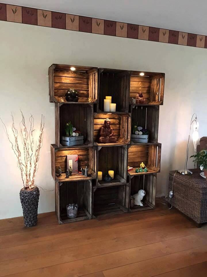 Wooden wine crate shelf