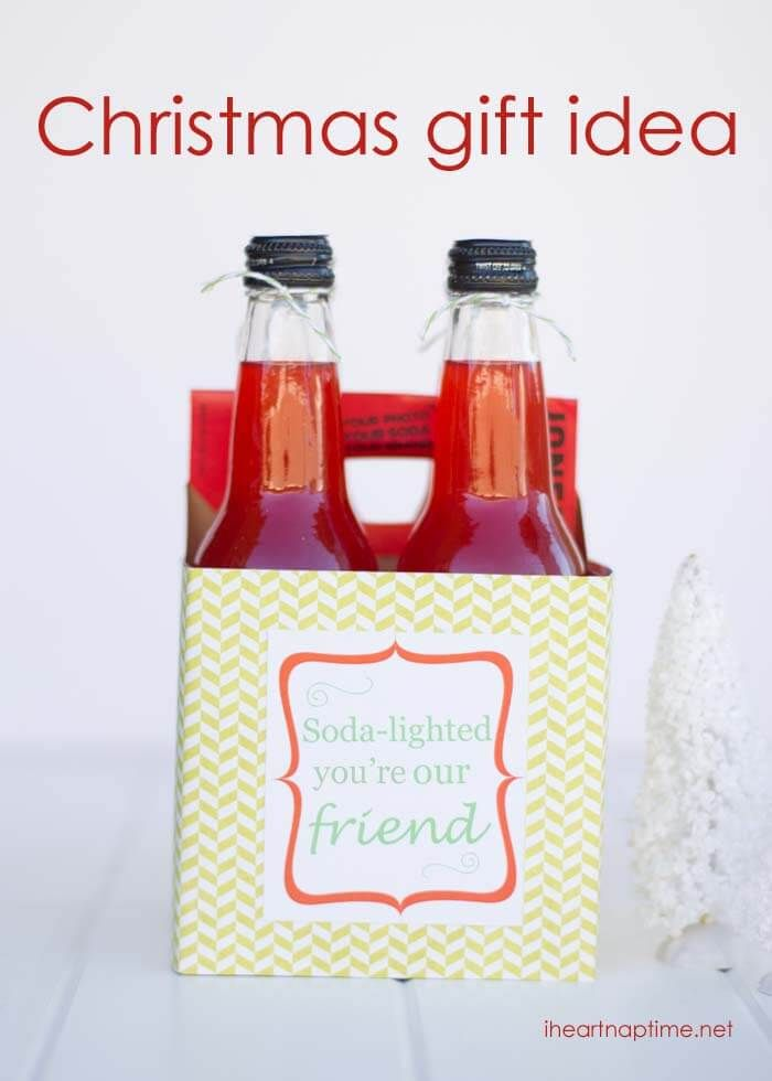 Today I'm going to show you how to make this fun Christmas gift idea. Who  wouldn't love to receive a pack of Jones soda?! Me! I Would! ;) I'm always  looking ... - Soda-lighted Neighbor Gift Idea W/ Free Printable Christmas