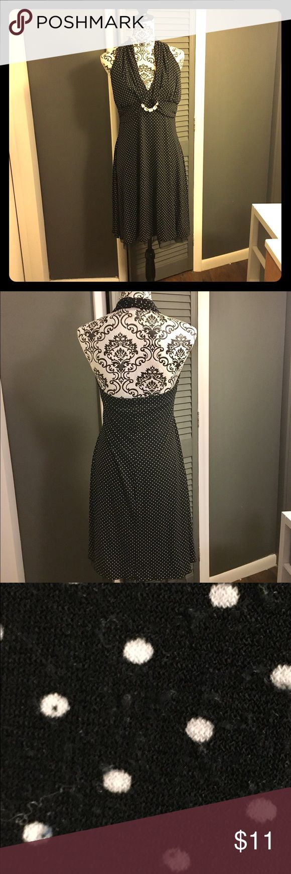 Polka Dot Halter Top Cocktail Dress This is in good used condition. The only flaw is some minor pilling in one spot on the back. Has an adorable clear rhinestone embellishment on the front. My Michelle Dresses Midi