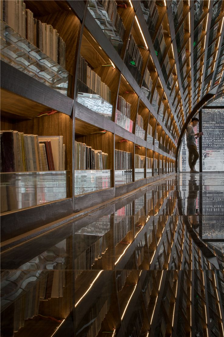 xl muse black mirror glass floor library arch china designboom