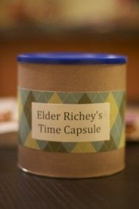 Missionary Time Capsule Idea -- I would do this just before they leave. Favorite place to eat, favorite music/song, favorite movie, etc. It would be fun to have them open it up after 18 months or 2 years.