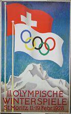 Affiche reproduction St Moritz, Suisse , jeux olympiques JO 1928, drapeaux