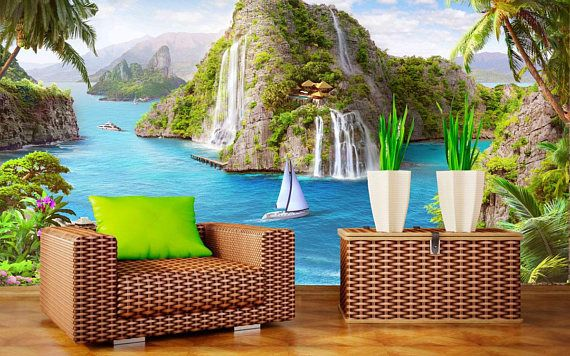 Large wall mural. Poster of tropical island. Colorful photo