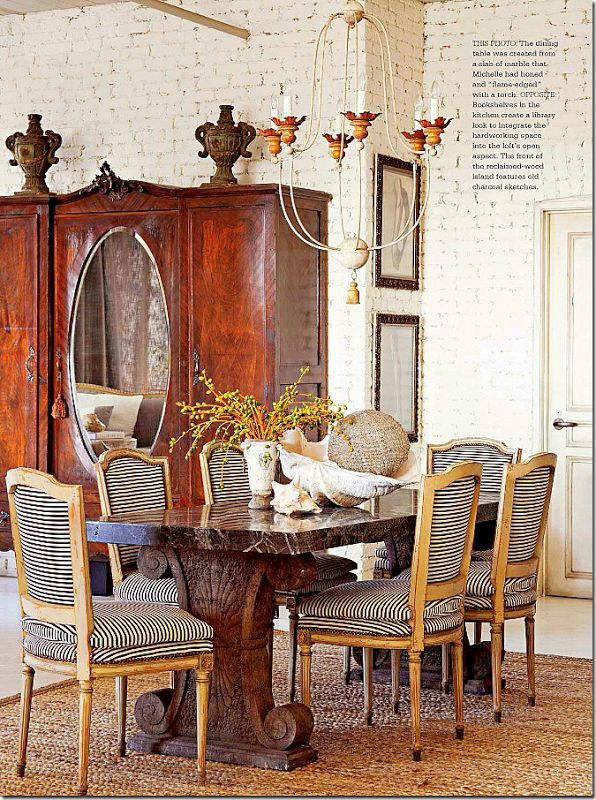 Black And White Stripes Give A Contemporary Edge To Antique Louis XVI Chairs .