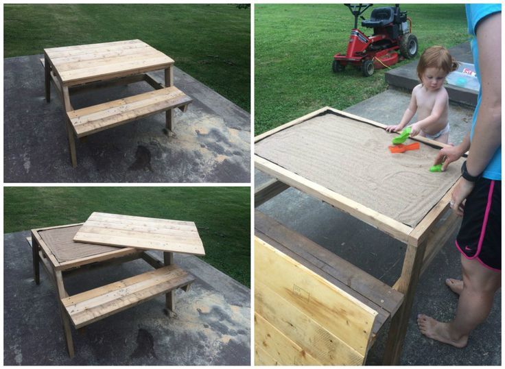 #Garden, #Kids, #Outdoor, #Pallet, #PalletDiyIdeas, #PalletPicnicTable, #PalletTable, #PicnicTable, #RepurposedPallet, #Sandbox Pallet crafters love the idea of saving money, as well as creative use of space and supplies. Here's a brilliant idea: a Kids Pallet Sandbox Picnic Table! I built this in about four hours and used two pallets.  How to build your own Kids Pallet