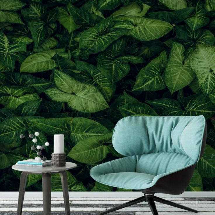 Living Room Wallpaper with Rain Forest Themed Prints