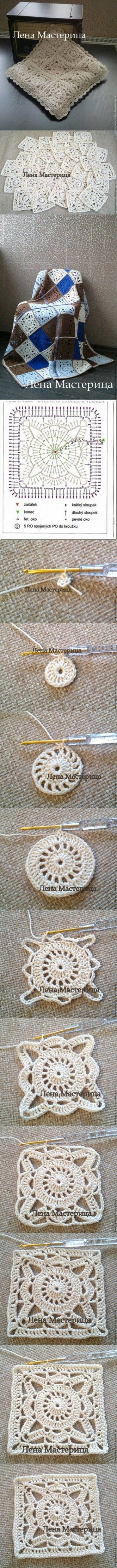 brocant gehaakt kussentje DIY Square Motif Lace DIY Projects