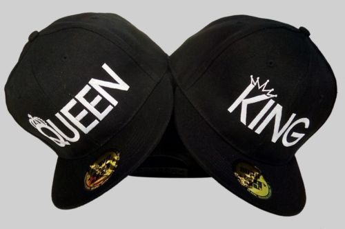 Queen. King. snapback Embroidered  cap hat men, women, couple QUEEN KING snapback , cap, embroidery text,2 CAPS for one price