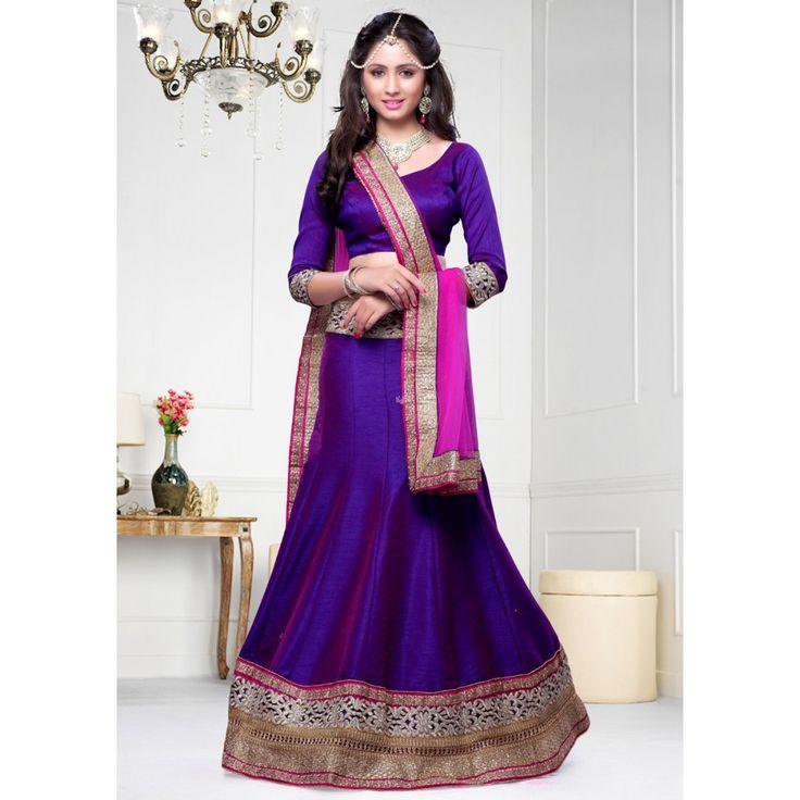 Vivacious Purple Dupion Silk #Lehenga Choli- $82.27