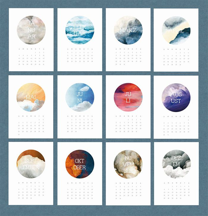 Calendar Design - LOVE the beautiful abstract watercolors! (I see nature in…