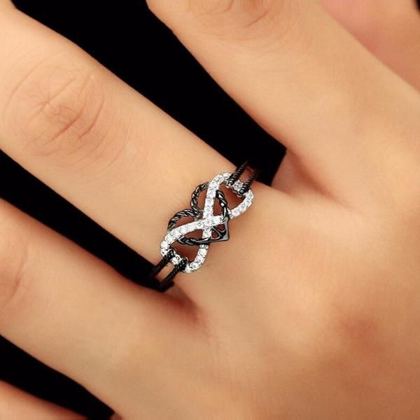 NEW Silver Love Heart Ring Band Wrap Rings Women Jewelry Vintage Fashion Gift