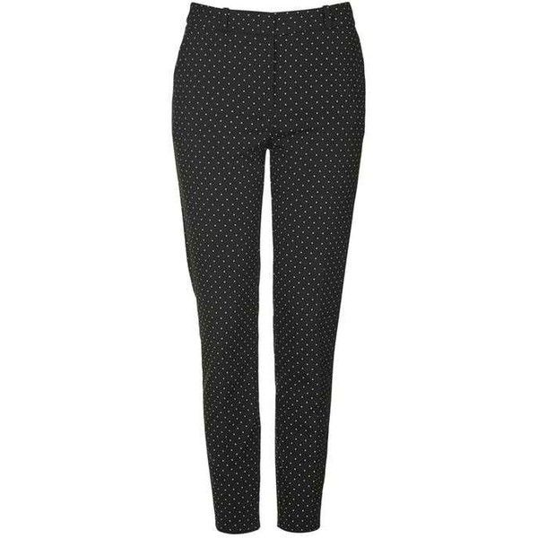 TopShop Petite Pinspot Cigarette Trousers (38 CAD) ❤ liked on Polyvore featuring pants, cigarette trousers, petite pants, print pants, patterned trousers and patterned pants