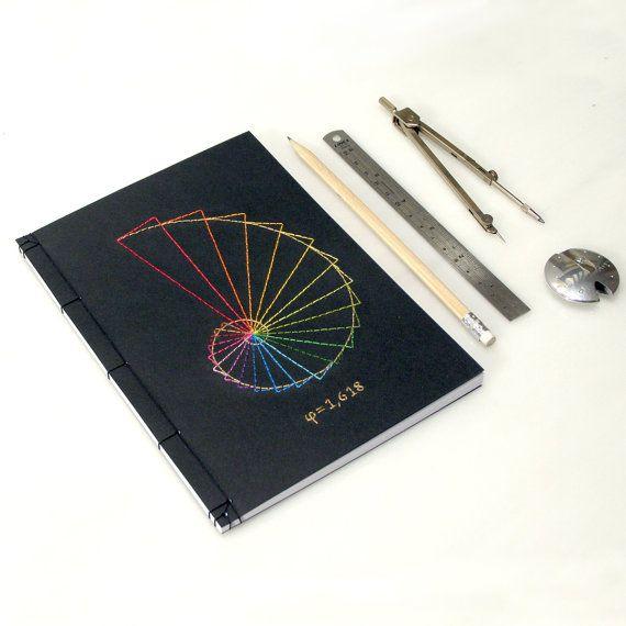 Goldener Schnitt-Journal. Geometrie-Notebook. Bestickte Notebook. Fibonacci. Geometrische Journal. Men