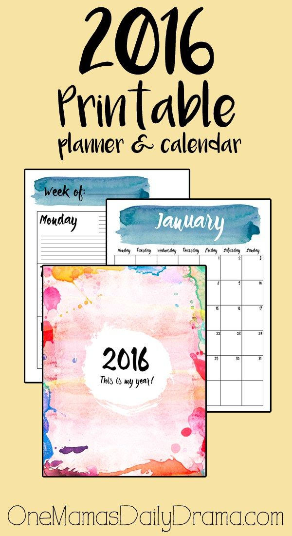 Free 2016 printable planner | One Mama's Daily Drama --- Includes monthly calendar, week-at-a-glace organizers, and weekly schedule
