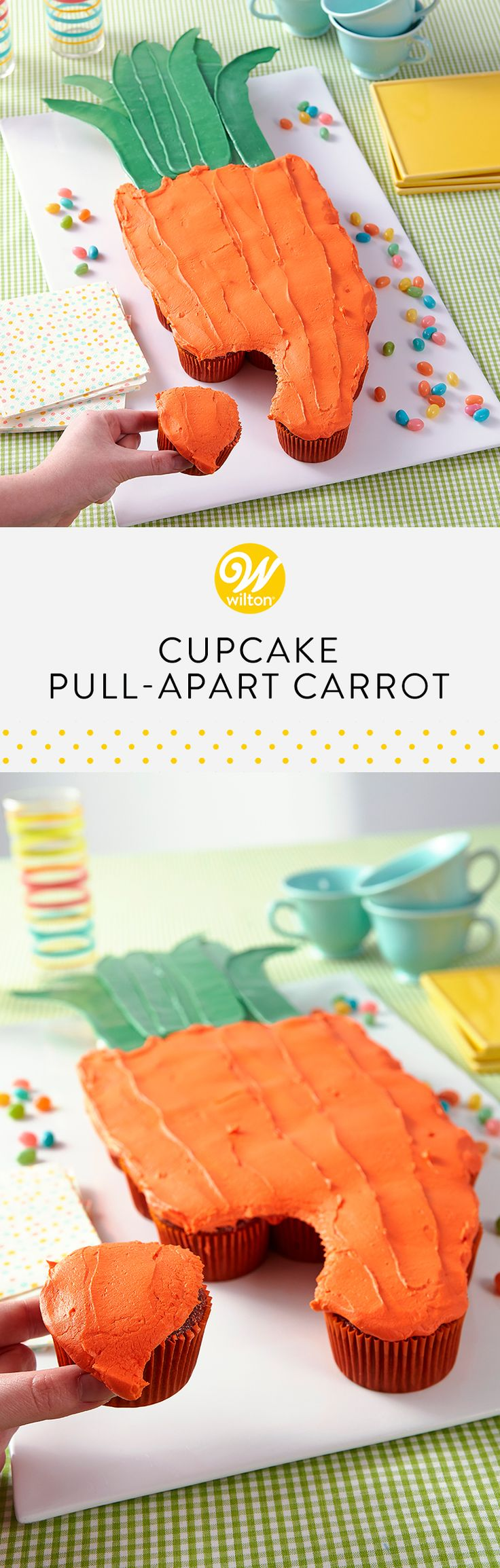 It may look like a cake, but this giant carrot shape is made up of individual cupcakes. Use Candy Melts® candy to make the leaves that add a realistic finishing touch! This pull-apart carrot cupcake cake is the perfect centerpiece for your Easter sweet table, plus it is easy to serve--guests just grab a cupcake and go! #wiltoncakes #cakes #cakeideas #easter #eastercakes #carrotcake #cupcakes #carrotcakecupcakes #pullapart #pullapartcake #easterideas #easterdesserts #buttercream #inspiration