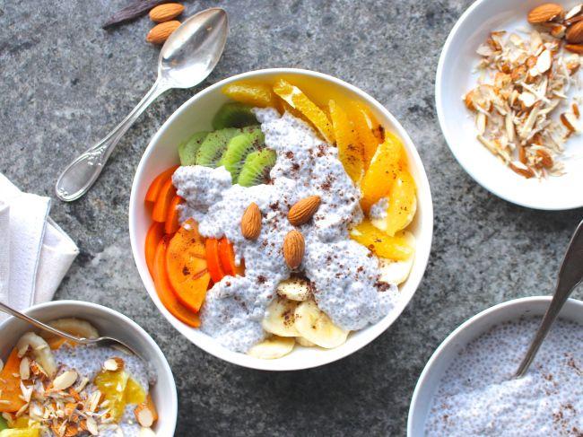 Vinterfruktsallad med gräddig kokoschia