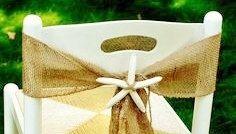 Burlap Chair Sash  - Burlap Chair Swag - Weddings Chair Sash - Chair Sash with Starfish Centerpiece - Rustic  - Beach wedding decor by AJRUSTICCREATIONS on Etsy https://www.etsy.com/listing/191517496/burlap-chair-sash-burlap-chair-swag