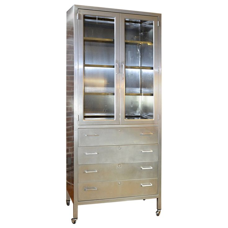classic stainless steel lockdown cabinet apothecary
