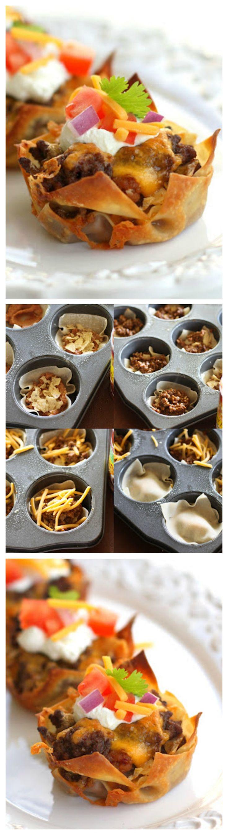 Taco Cupcakes.... mit Tofu Krümmeln und Guacamole Topping Entweder mit WanTan Teigblättern, Strudelteig, Yufkateig oder aber aus Wraps kleine formen....