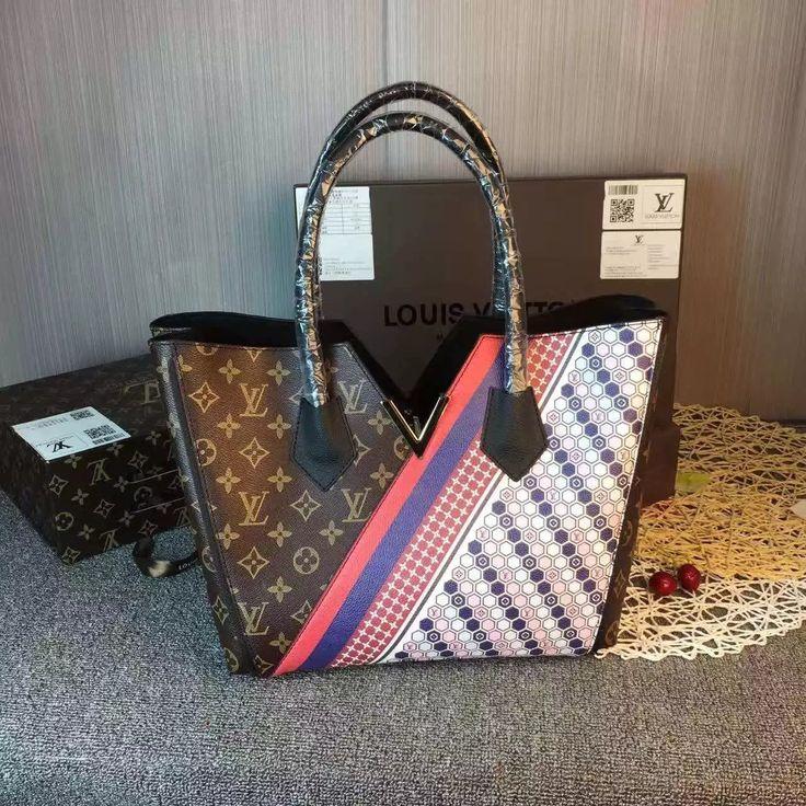 LV Graphic patterns embossed calf leather play off Monogram canvas to create a kimono shape edge-dyeing handbag  42849 size: 28cmQL1 whatsapp:+8615503787453